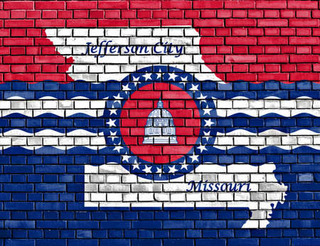 jefferson: flag of Jefferson City painted on brick wall