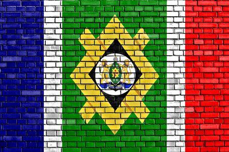 johannesburg: flag of Johannesburg painted on brick wall