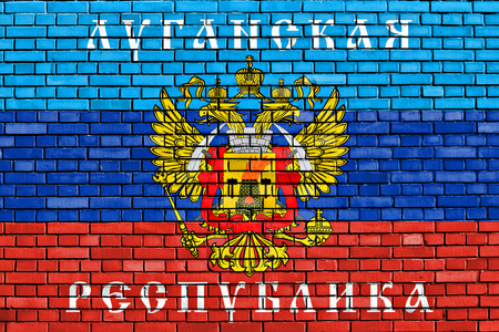 proclaimed: flag of Lugansk Peoples Republic painted on brick wall
