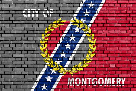 montgomery: flag of Montgomery painted on brick wall