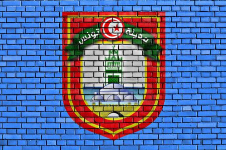 flag of Tunis painted on brick wall photo
