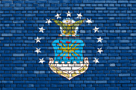 united states air force: flag of United States Air Force painted on brick wall