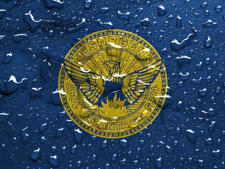atl: flag of Atlanta with rain drops Stock Photo