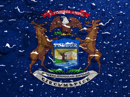 michigan flag: flag of Michigan with rain drops