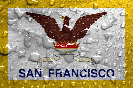 flag of San Francisco with rain drops