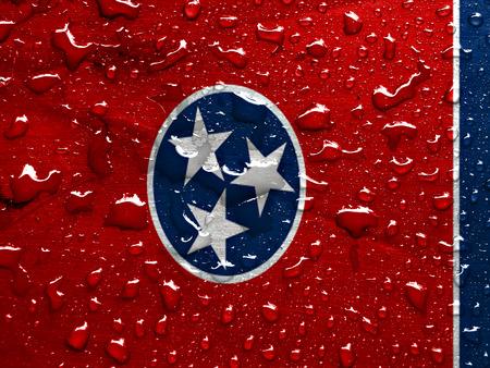 tennesse: bandera de Tennessee con gotas de lluvia