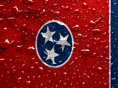 flag of Tennessee with rain drops