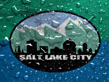 flag of Salt Lake City with rain drops
