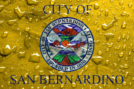 bernardino: flag of San Bernardino with rain drops