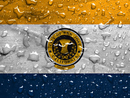 san jose: flag of San Jose with rain drops