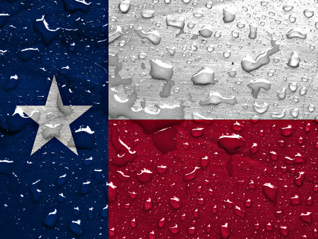 flag of Texas with rain drops