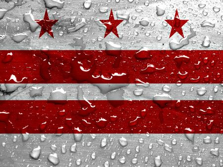 dc: flag of Washington D.C. with rain drops Stock Photo