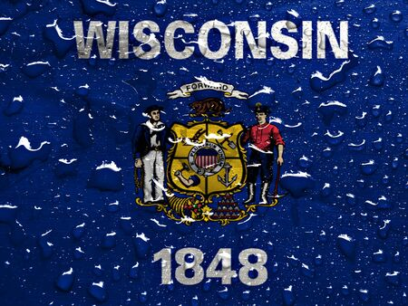 wisconsin flag: flag of Wisconsin with rain drops Stock Photo