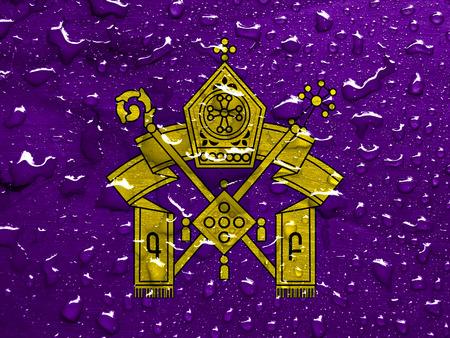 orthodoxy: flag of Armenian Apostolic Church with rain drops Stock Photo