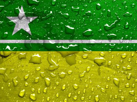 flag of Boa Vista with rain drops
