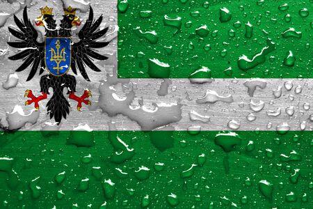 flag of Chernihiv Oblast with rain drops Stock Photo