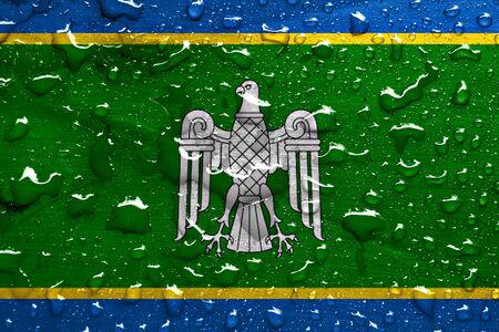 chernivtsi: flag of Chernivtsi Oblast with rain drops Stock Photo