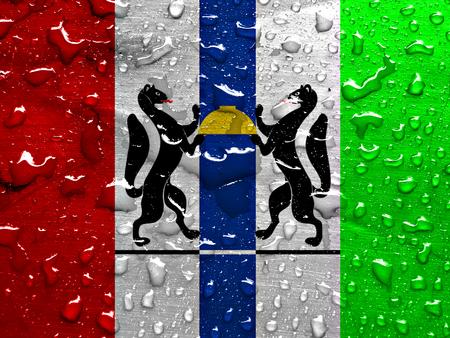 novosibirsk: flag of Novosibirsk oblast with rain drops