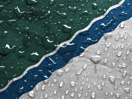 novosibirsk: flag of Novosibirsk with rain drops Stock Photo