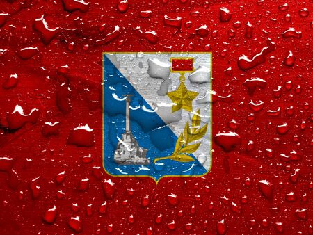 flag of Sevastopol with rain drops Stock Photo
