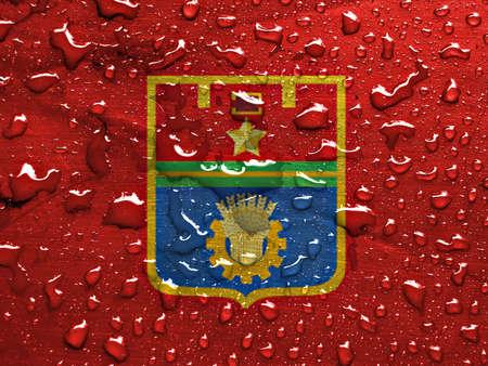 volgograd: flag of Volgograd with rain drops