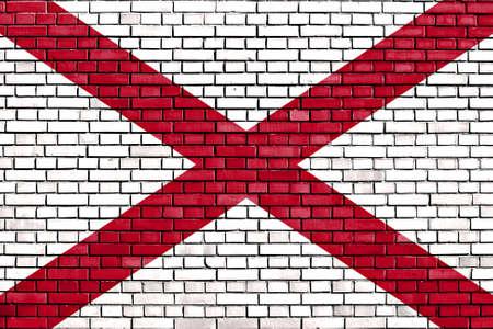 alabama flag: flag of Alabama painted on brick wall
