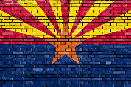 flag of Arizona painted on brick wall