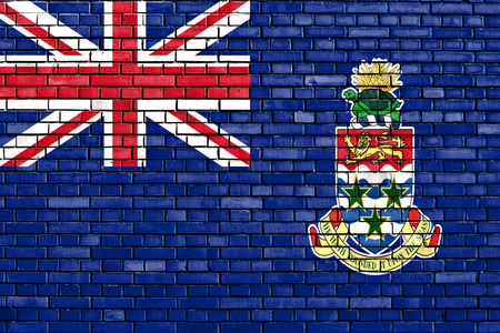 flag of Cayman Islands painted on brick wall photo