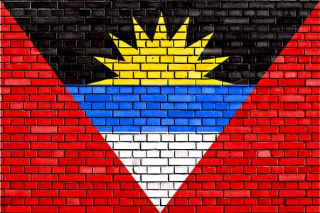 antigua flag: flag of Antigua And Barbuda painted on brick wall