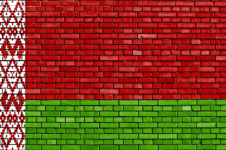 flag of Belarus painted on brick wall