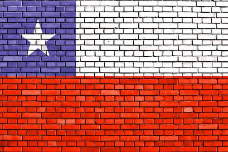 bandera chilena: bandera de Chile pintado en la pared de ladrillo Foto de archivo