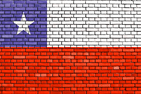 chilean flag: flag of Chile painted on brick wall Stock Photo