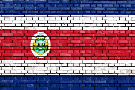 flag of Costa Rica painted on brick wall