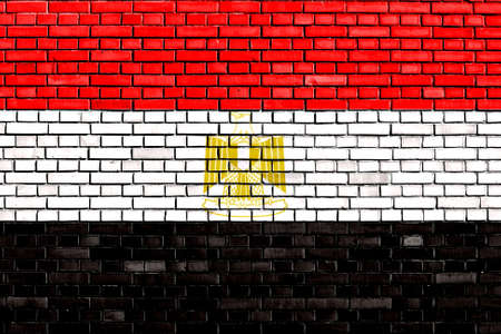flag of Egypt painted on brick wall photo