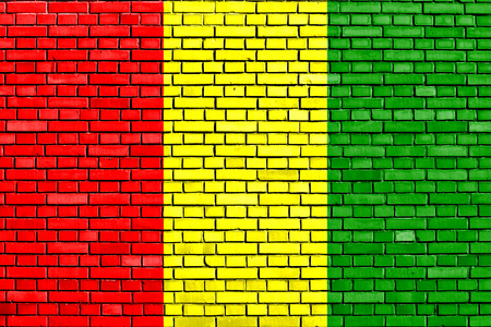 flag of Guinea painted on brick wall