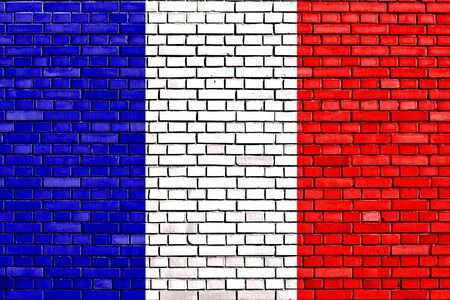 flag of France painted on brick wall