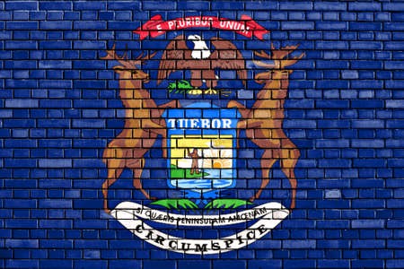 michigan flag: flag of Michigan painted on brick wall