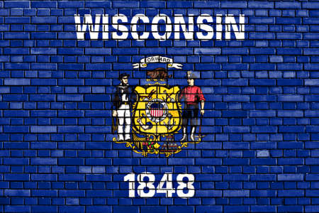 wisconsin flag: flag of Wisconsin painted on brick wall Stock Photo