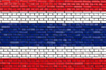 flag of Thailand painted on brick wall photo