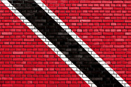 national flag trinidad and tobago: flag of Trinidad and Tobago painted on brick wall