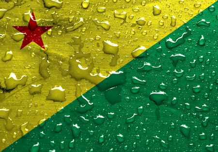 acre: State of Acre flag with rain drops