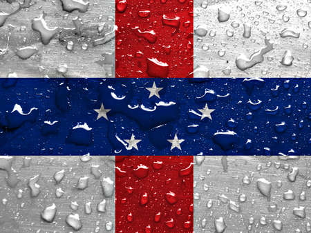 antilles: flag of Netherlands Antilles with rain drops Stock Photo