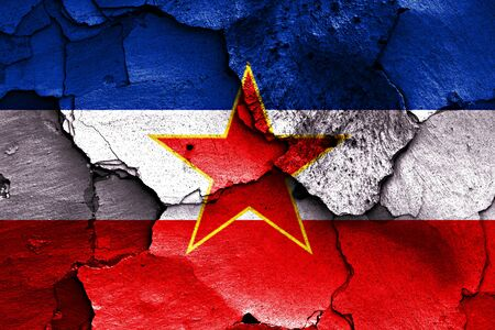 yugoslavia: flag of Yugoslavia painted on cracked wall