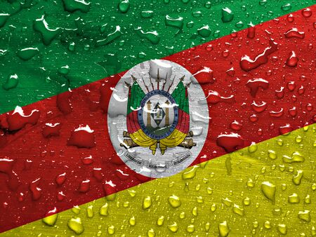 liquid state: State of Rio Grande do Sul flag with rain drops Stock Photo