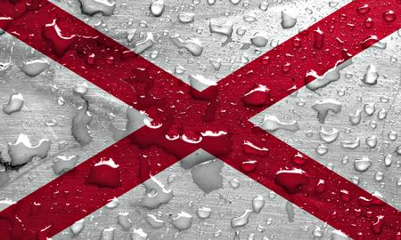 alabama flag: flag of Alabama with rain drops Stock Photo