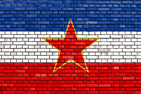 yugoslavia: flag of Yugoslavia painted on brick wall