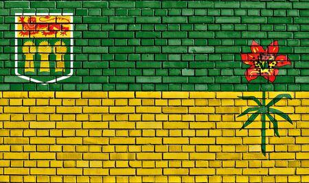 saskatchewan: flag of Saskatchewan painted on brick wall Stock Photo