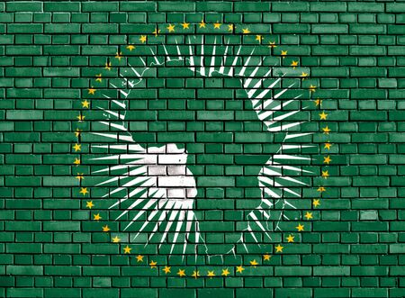 flag of African Union painted on brick wall photo