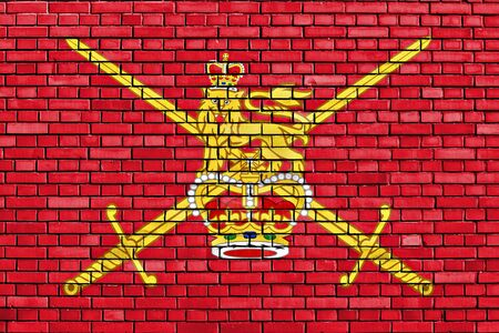 british army: flag of British Army painted on brick wall