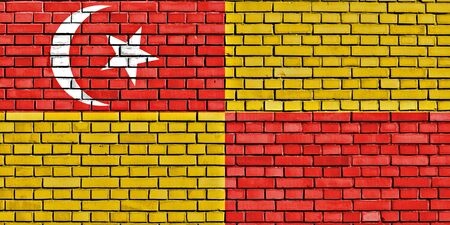 solid state: flag of Selangor painted on brick wall